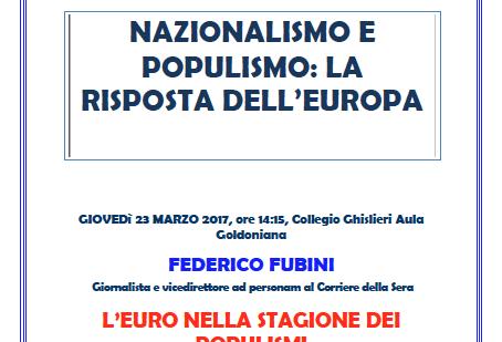 """Conferenza """"Nazionalismo e populismo: la risposta dell'Europa"""""""