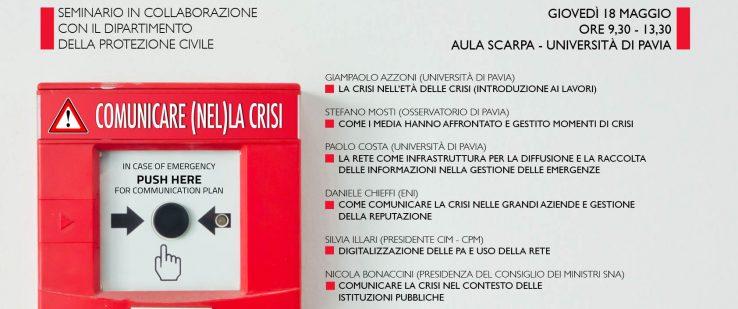 """""""Comunicare (nel)la crisi"""" – seminario in collaborazione con il Dipartimento di Protezione Civile"""
